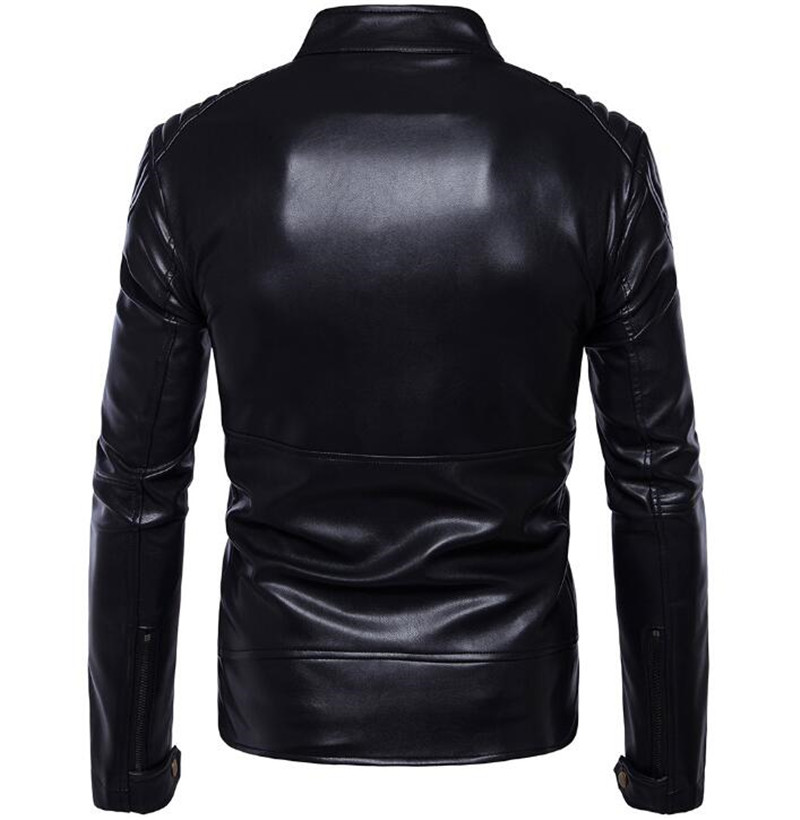 New Retro Vintage Motorcycle Jacket PU Leather Stand Collar Classic Punk Biker Moto Jacket Slim Biking Riding Jacket Coat in Jackets from Automobiles Motorcycles