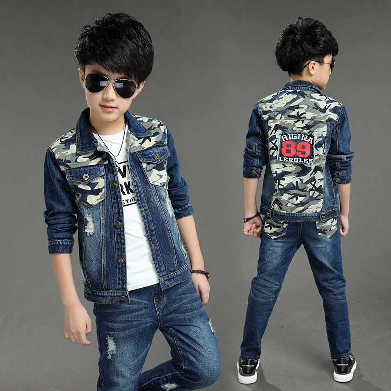 Childrens clothing boy denim suit 2019 new Korean version of the spring and autumn children Jacket + pants 2 sets 5-13 yearsChildrens clothing boy denim suit 2019 new Korean version of the spring and autumn children Jacket + pants 2 sets 5-13 years