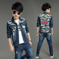 Children's clothing boy denim suit 2019 new Korean version of the spring and autumn children Jacket + pants 2 sets 5 13 years