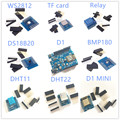 9 видов «Вемос» D1 КОМПЛЕКТ Wi-Fi оон на основе + D1 Мини + DS18B20 + WS2812 + micro TF карты + 1 канал реле + BMP180 + DHT11 + DHT22
