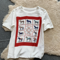 New Baitao thin Horse Digital Printed Silk Spliced Cotton T shirt Women s Summer Simple Loose Short Sleeve Top T shirt