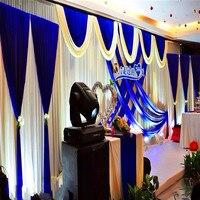 Роскошные 3 шт./лот (1 шт. 3*6 м + 2 шт. 2*2 м) свадьба фон Шторы SWAG Королевский синий партии этапа Задний план плиссированные Шторы украшения