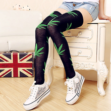 1 Pair New high over the knees stockings 4 Pattern Colors  Weeds Hemp Leaves Women Stockings #24436