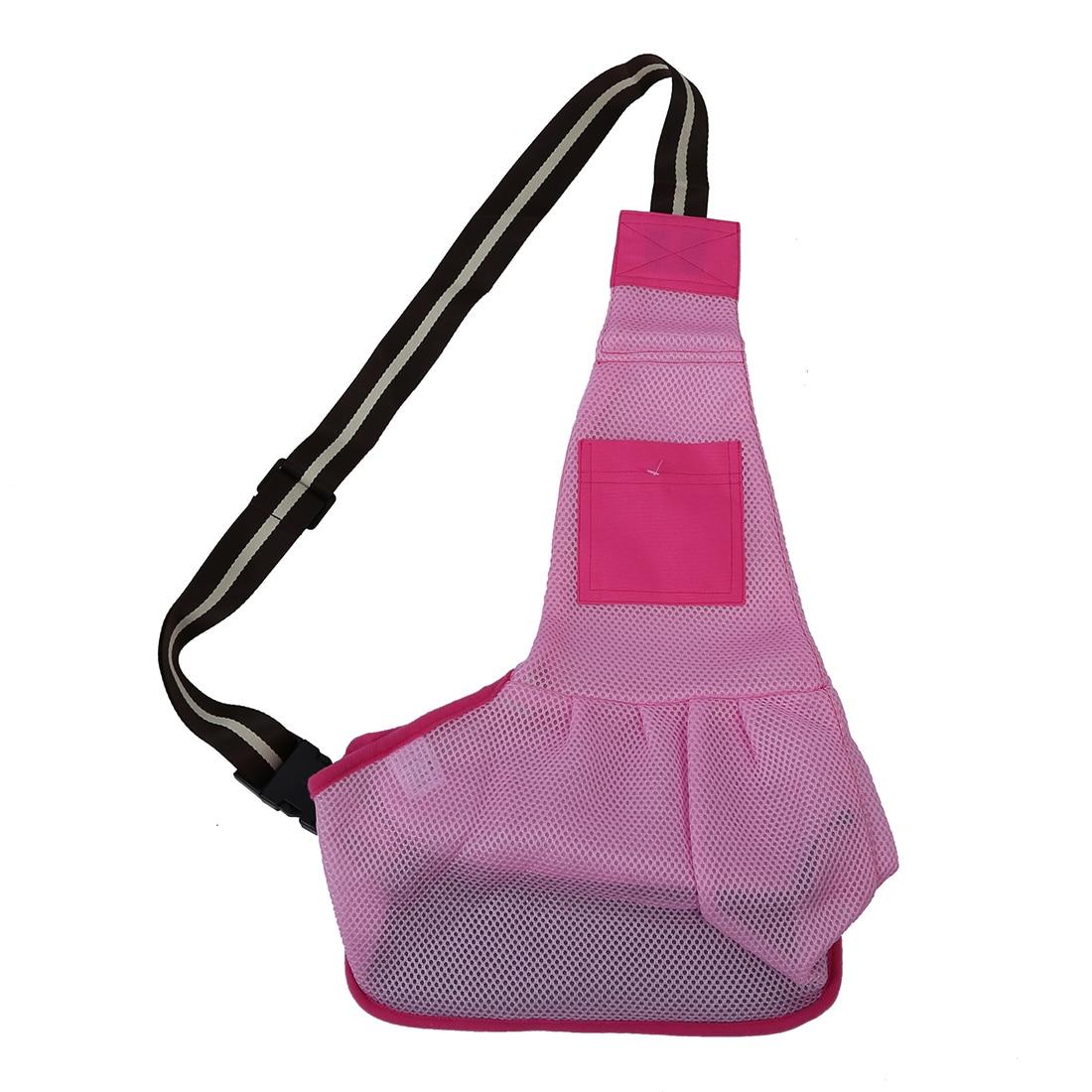 ABDB- Pet Dog Cat Puppy Bag Shoulder Satchel Crossbody Mesh Cool Pink S