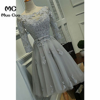 New 2018 Grey Homecoming Dresses 3/4 Sleeves Appliques Scoop Knee Length Homecoming Cocktail Graduation Party Dresses