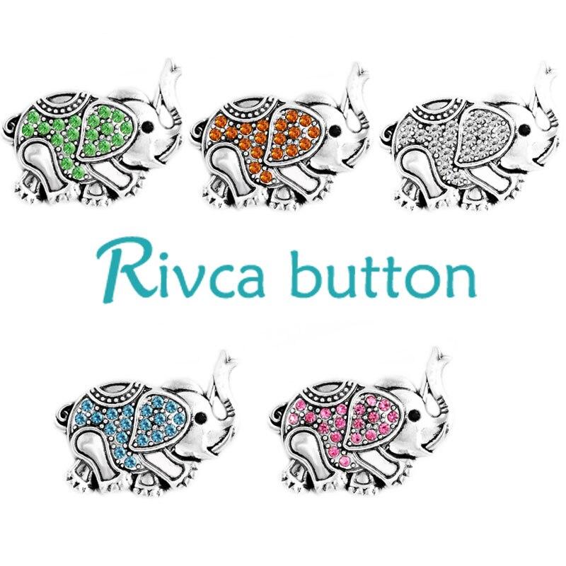 Rivca кнопки изделия самое новое прибытие металл слон Rhineston кнопки шарма черный Кожаные браслеты для Для женщин d03414