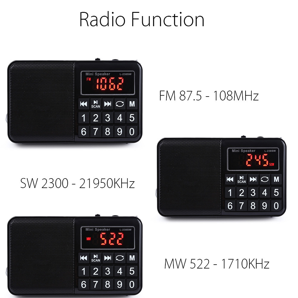 Tragbares Audio & Video Aktiv Fm/mw/sw Radio Stereo Lautsprecher Multifunktionale Tf-karte Usb Aux Pc Handy Lcd-bildschirm Tragbare Mp3 Musik-player Wiederaufladbare Radio