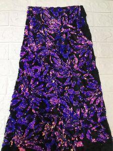 Image 4 - 最新のアフリカのレース生地 2018 パーセントの高品質紫色のベルベットのレースグリーンスパンコールレースコットンドレスのためのイブニングドレス