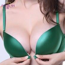 PAERLAN Seamless Push Up Front Closure Wire Free Stripe Beauty Back Bra  Small Breast Gathers Sexy Green Underwear Women