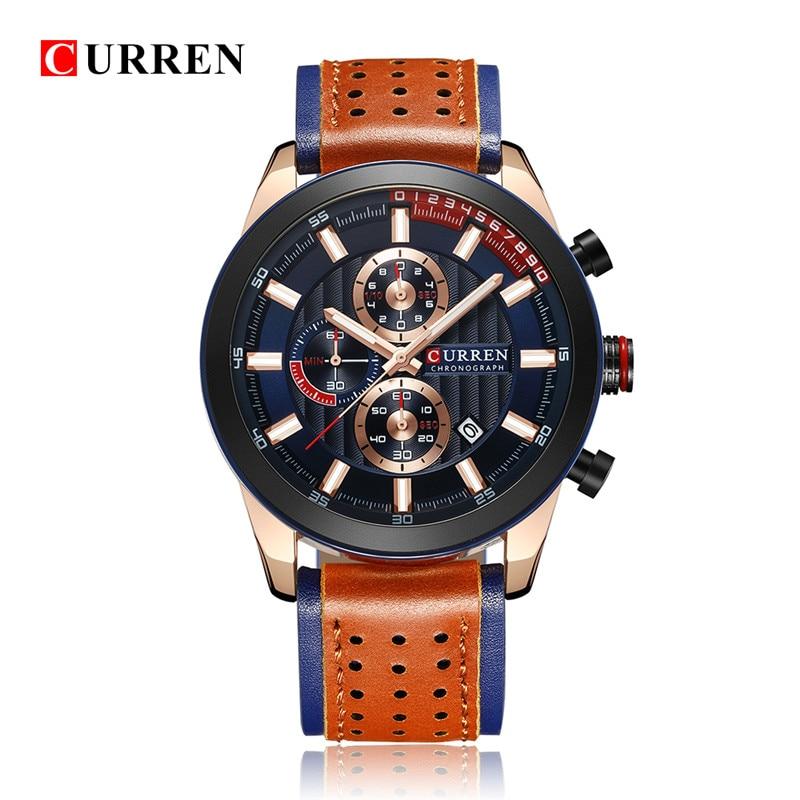 2018 LUXURY Curren Brand Quartz Gold Watches Deluxe Men Leather Watches Women Wristwatches Gifts Men Wristwatches 8292