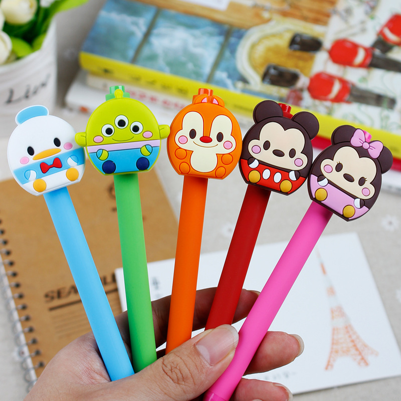 10 Pcs/set New Gel Pen Kawaii Gel Pen 0.5mm Black Ink Candy Color Pens Gift For Kids Escritorio Papelaria Mickey Minnie