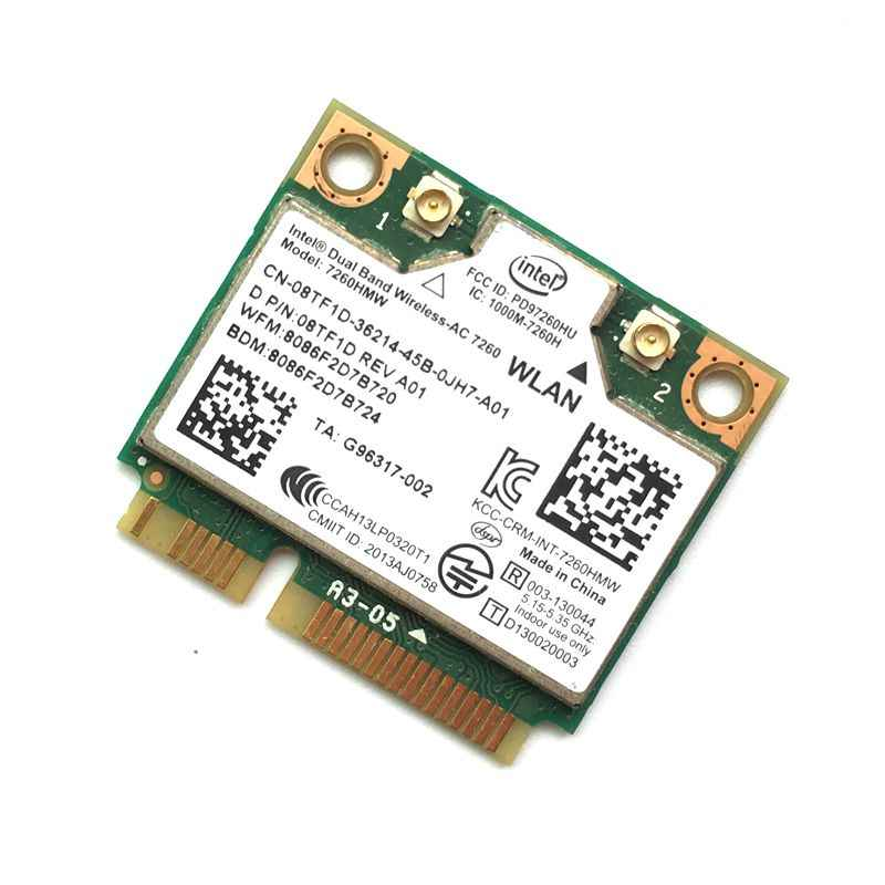 Yeni Dual Band Kablosuz-ac 7260 Intel 7260HMW 7260AC 2.4G/5 Ghz 802.11ac MINI PCI-E 2x2 WiFi Kart + Bluetooth 4.0 Wlan Adaptörü