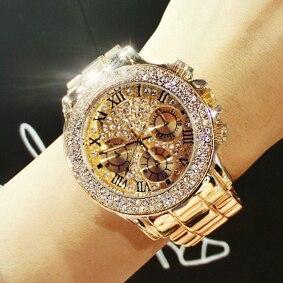 Hot Sales Women Watch High Quality Women Rhinestone Watches Lady Luxury Sparkling Dress Watch Gold Steel Strip Roman Drop Ship