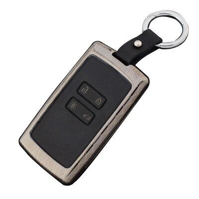 Aleación de Zinc + llavero de cuero coche clave cubierta caso protector para Renault koleos Kadjar llaves con llaves caso