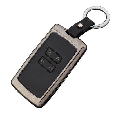 En Alliage de Zinc + En Cuir Porte-clés couvercle De clé de Voiture protector case holder pour Renault koleos Kadjar Clés Avec Porte-clés cas