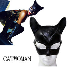 Sexy Catwoman Mask Cosplay Costume Latex Helmet Fancy Adult Halloween Headgear Black Half Face Mask Cosplay Masque Party Prop(China)
