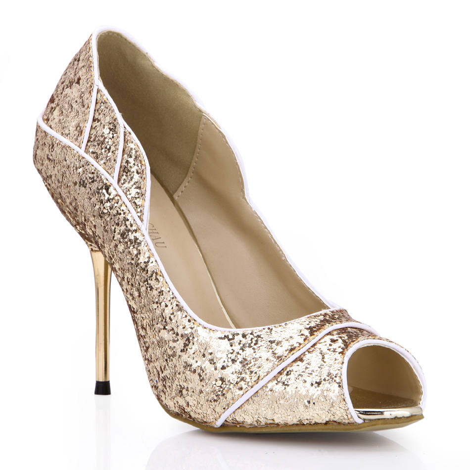 CHMILE CHAU Elegant Glitter Bridal Patry Women shoes Peep Toe Stiletto High Iron Heel Pumps Escarpins Zapatos Mujer 3845C 2a in Women 39 s Pumps from Shoes