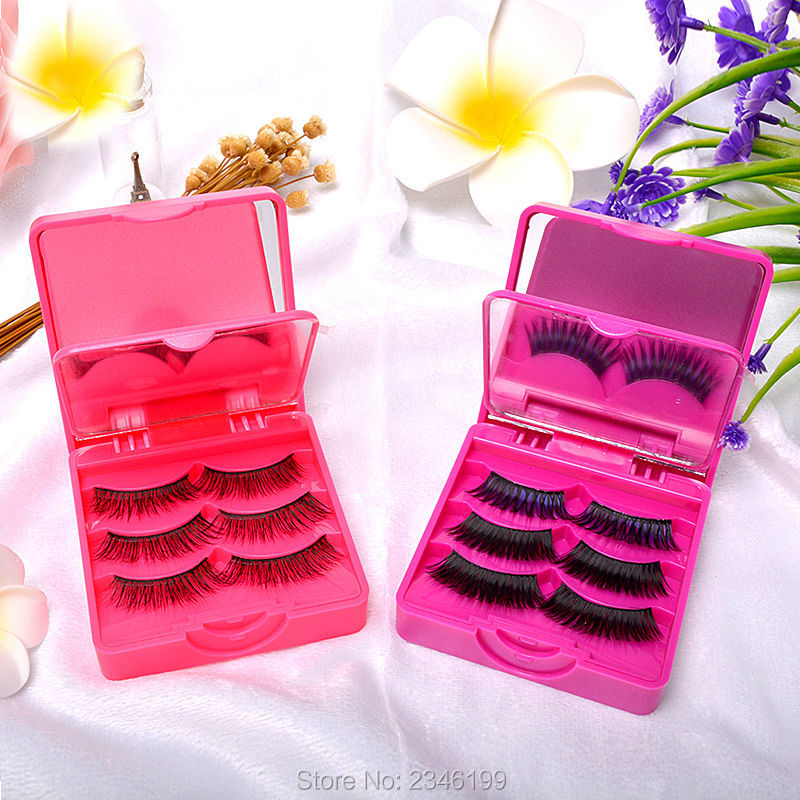 5pcs/lot New Arrival Portable Square Purple/Rose Red Fake Eyelashes Container, Plastic Top Grade False Eye Lashed Storage Box new 13 5 340mm motorcycle a pair air shocks absorber eye to eye gokart purple