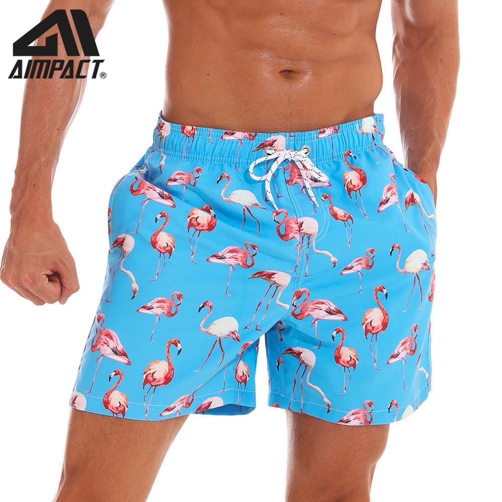 Aimpact Mens Board Shorts Flamingo Quick Dry Summer Beach Swim Hybrid Shorts Fashion Surf Hawaii Mesh Lining Liner Trunks AM2195