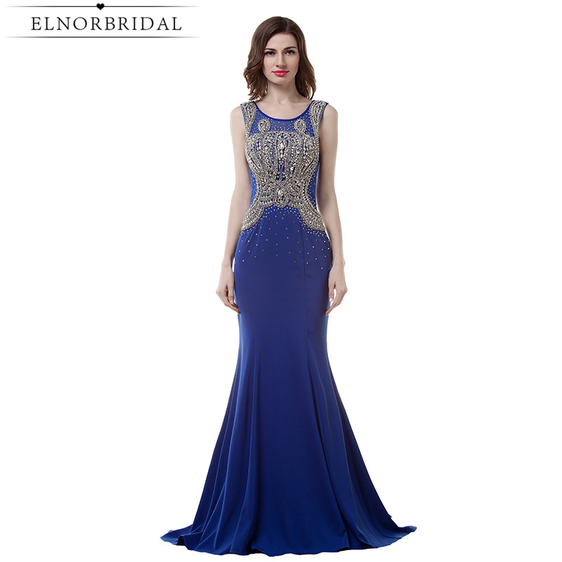 Royal Blue Sheer Evening Dress Mermaid 2017 Avondjurk Imported Party Dress Long Beading Chiffon Formal Prom Gown Robe De Soiree