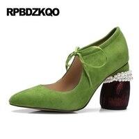 真珠ハイヒールの靴厚いグリーン女性奇妙なスエード異常キャットウォーク本革尖ったつま先ストラップメアリージェーンレースアッ