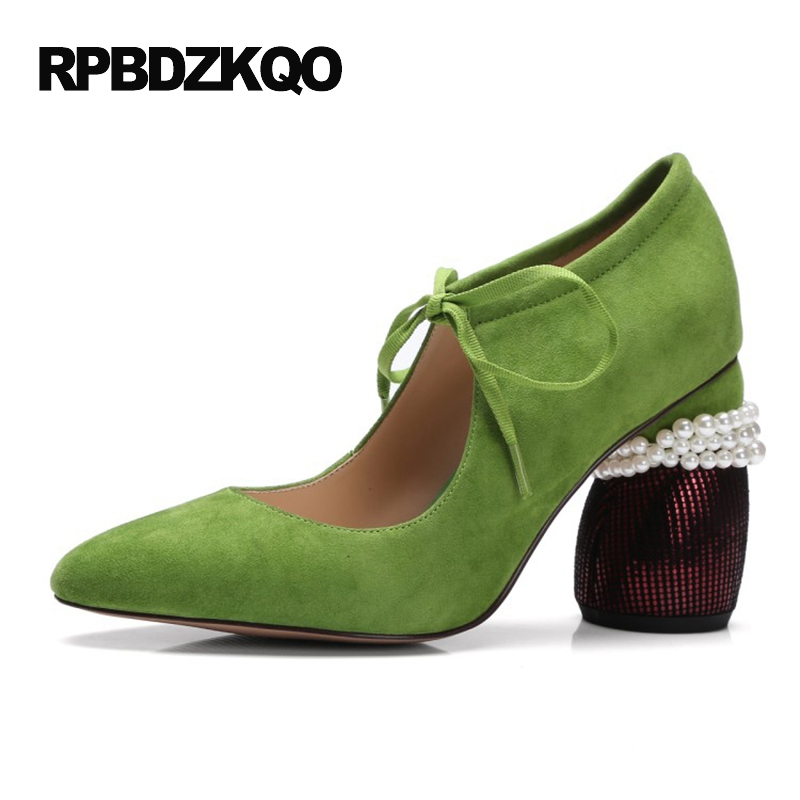 Pearl High Heels Shoes Thick Green Women Strange Suede Abnormal Catwalk Genuine Leather Pointed Toe Strap Mary Jane Lace Up abnormal psychology 4e
