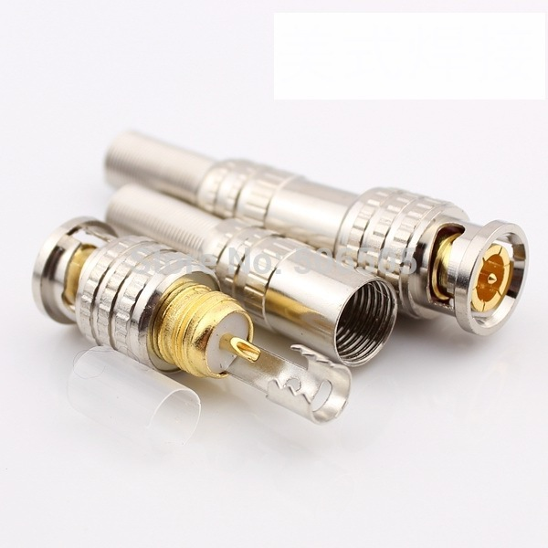 Free shipping 75 5 gold plating BNC connector Q9 Jack for Coaxial RG59 CCTV camera 100pcs