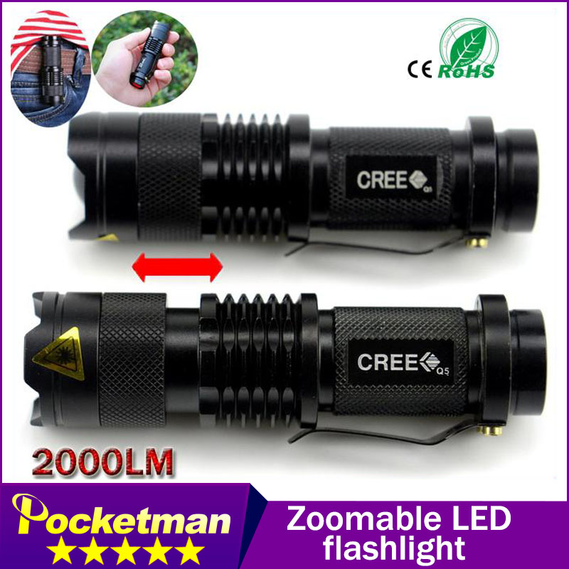 hoogwaardige Mini Black 2000LM Waterdichte LED zaklamp 3 standen - Draagbare verlichting
