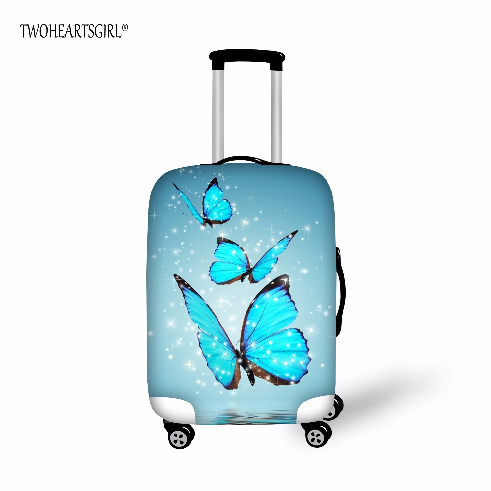 TWOHEARTSGIRL Butterfly Designs Luggage Protective Cover 18 30 inch Trolley suitcase Elastic Dust Bags Case Travel