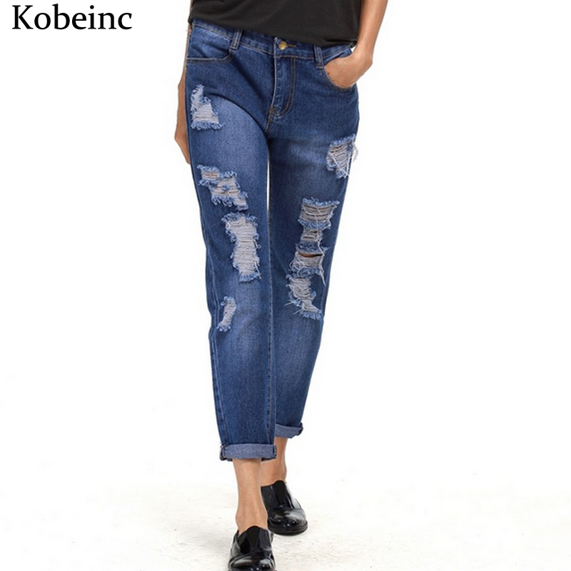 Fashion Harem Denim Pants women Ripped Holes Female Jeans 2017 S~5XL Oversized Vaqueros with ...