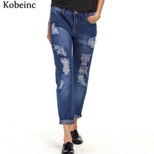 Fashion Harem Denim Pants women Ripped Holes Female Jeans 2017 S~5XL Oversized Vaqueros with Pockets Jean Trousers New Pantalon