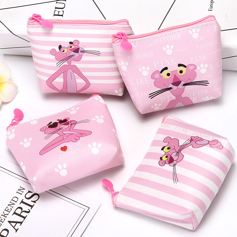 New Cartoon The Pink Panther Students Coin Purse Children PU Zipper Change Purse Women Men's Mini Wallet Key Card Bag Kids Gift