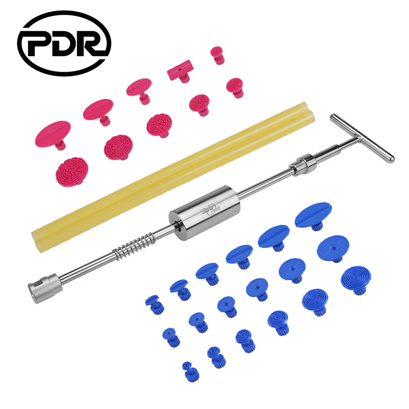 PDR Tools Paintless Dent Removal Car Dent Repair Auto Tool Set Dent Puller Slide Hammer Glue Tabs Suction Cups For Dents +Gift professional pdr tools 2 in 1 slide hammer glue tabs high quality paintless dent repair tools set