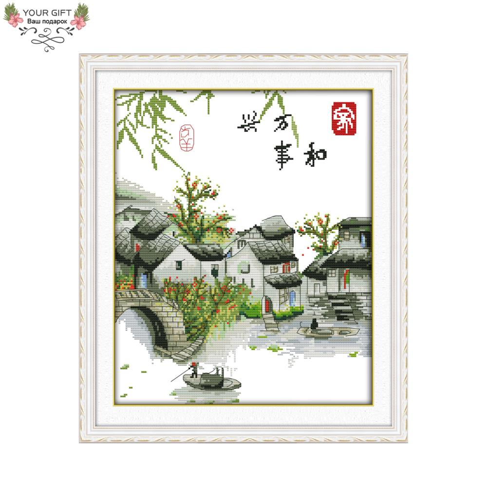 Joy Sunday F774 Counted and Stamped Home Decor A Peaceful Family Will Prosper Yangtze River Edition China Cross Stitch