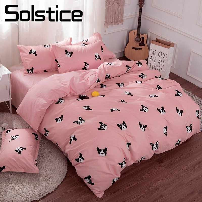 Solstice Home Textile Pink Girls Bedding Sets Bull Dog Duvet Cover Pillowcase Flat Bed Sheet Kid Child Teens Bed Linen 3/4Pcs