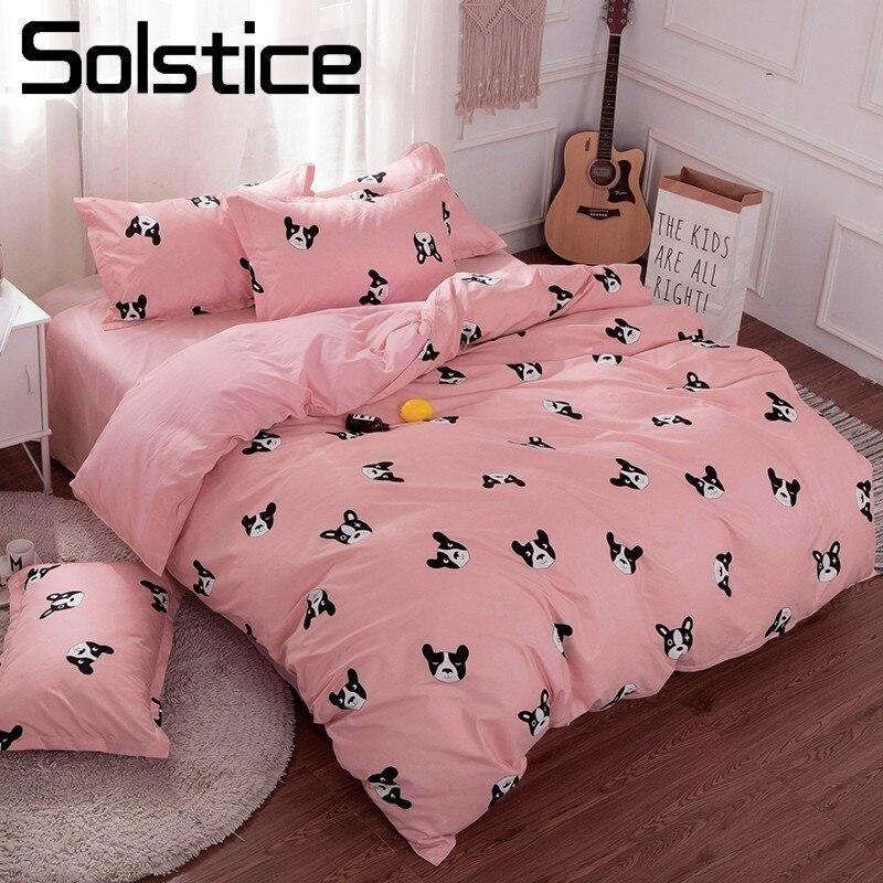 Solstice Home Textile Pink Girls Bedding Sets Bull Dog Duvet Cover Pillowcase Flat Bed Sheet Kid Child Teens Bed Linen 3/4Pcs