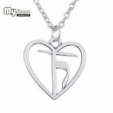 Creative Women Fashion Necklace Heart Of Yoga Satya Pewter Pendant Necklace chain tif jewelry