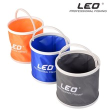LEO Portable Folding Bucket Canvas Body+Plastic Bottom Camping Hiking Fishing Bucket Fishing Tackle Barrel In Zipped Storage Bag