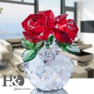 Image 4 - H & D คริสตัลสีแดง Rose Bouquet ดอกไม้ Figurines เครื่องประดับของขวัญกล่องตกแต่ง Paperweight วันวาเลนไทน์