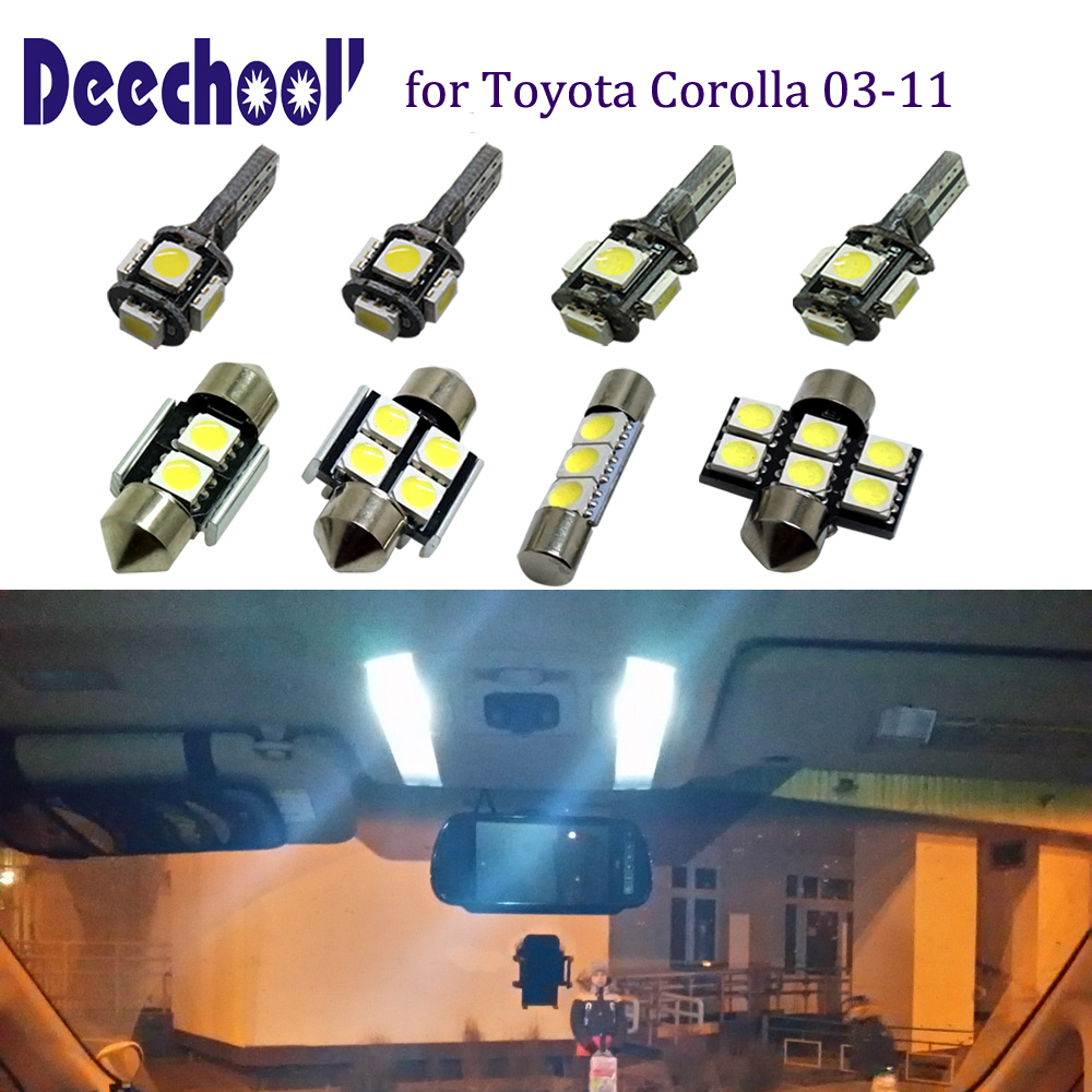 deechooll 10pcs Car LED Lights for Toyota Corolla 03-11, Interior Light Bulbs for Map License Plate Dome Light Lamp Accessories