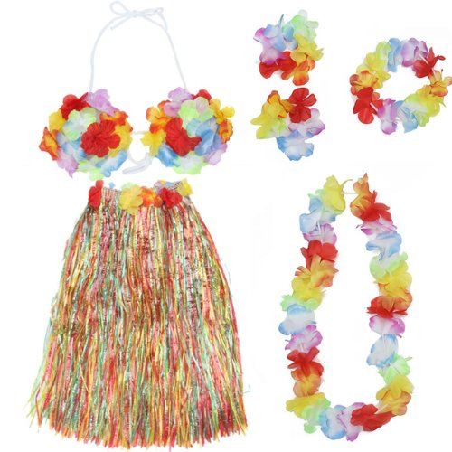 Buy Cheap Colorful Hawaiian Tropical Theme Party Hula Luau Grass Dancer Dress and Bra Set