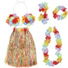 Cheap Colorful Hawaiian Tropical Theme Party Hula Luau Grass Dancer Dress and Bra Set