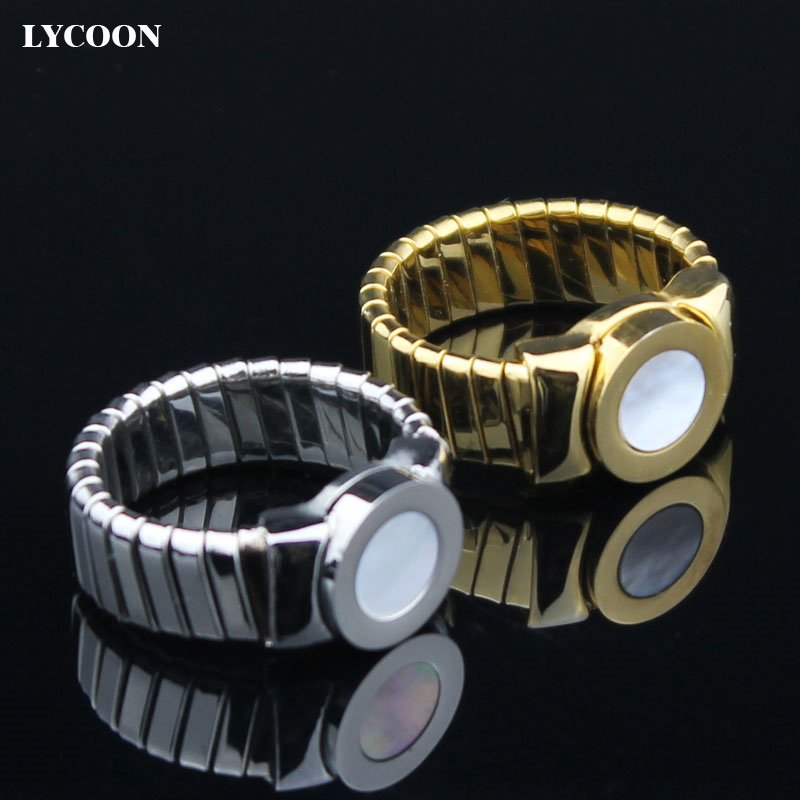 Cheapest sale! Free shipping Fashion hot sale stainless steel shiny polish plate gold women ring luxury noble white shell rings