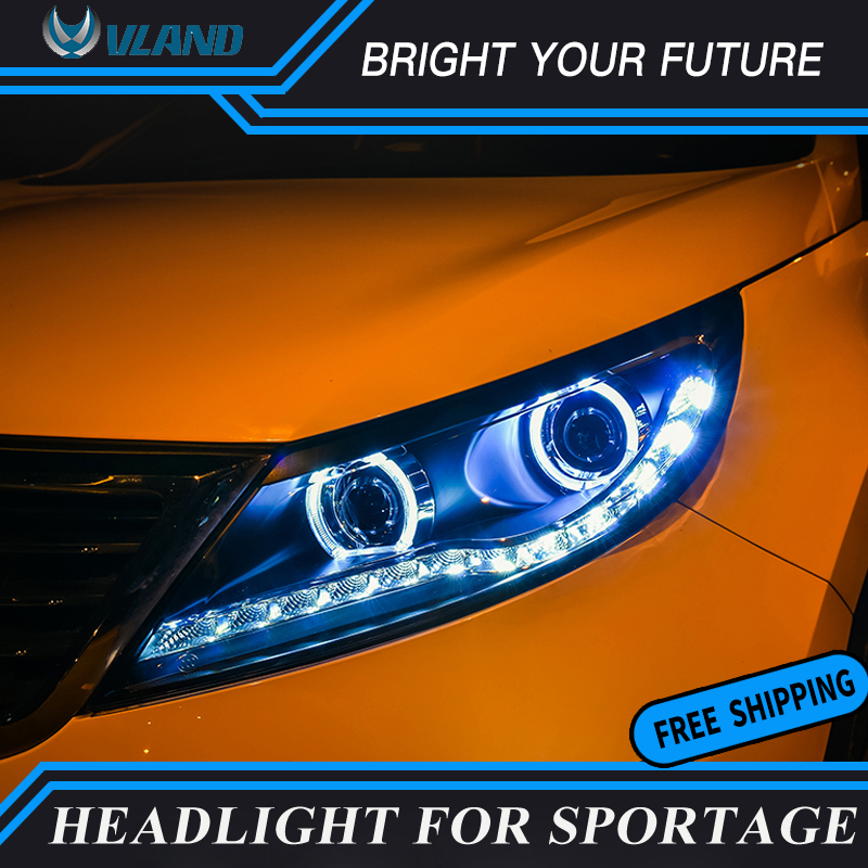 Car Front Lamp For KIA Sportage R LED Headlights 2011 2014 Angel Eyes Lights LED DRL Bi xenon Projector Lamps