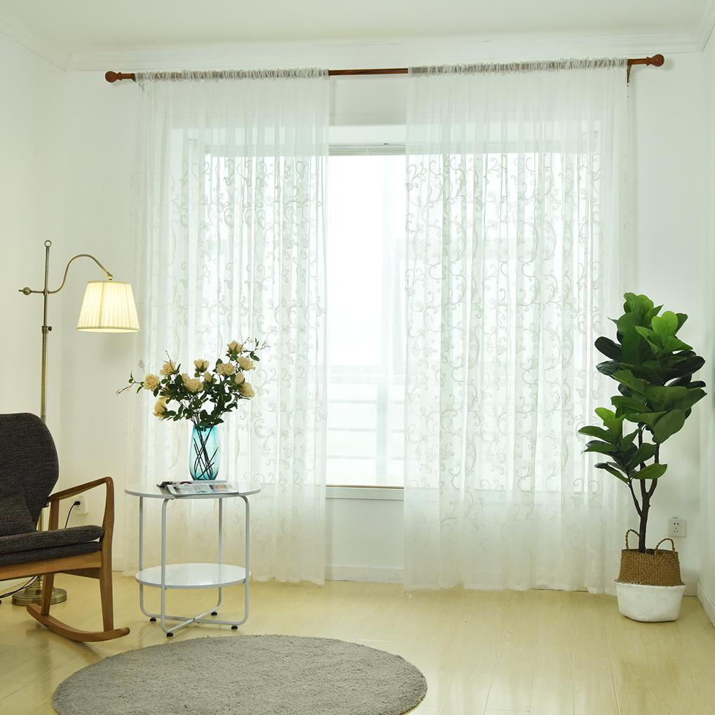exciting living room curtains drapes | Curved Hook Embroidered Voile Curtain Living Room Bedroom ...