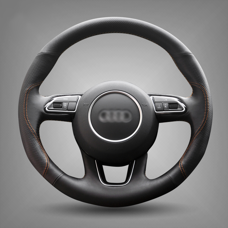 ФОТО Black Leather Hand-stitched Car Steering Wheel Cover for Audi Q3 Q5 2013-2015