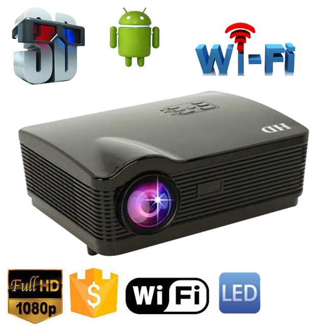 5500Lumens projector full hd Quad Core Android 4.4 WiFi Smart 1080P 3D LCD Home Theater LED Projector Video Beamer Proyector
