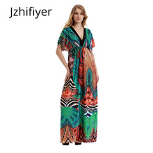 купить dress mujer holiday maxi summer dress onepiece sexy V-neck backless pareo sarong kaftan floor length loose dress plus size M-6XL по цене 1269.41 рублей