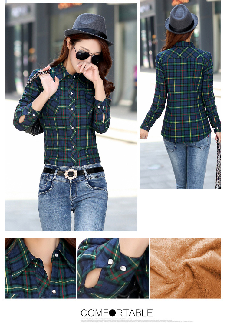 19 Brand New Winter Warm Women Velvet Thicker Jacket Plaid Shirt Style Coat Female College Style Casual Jacket Outerwear 8