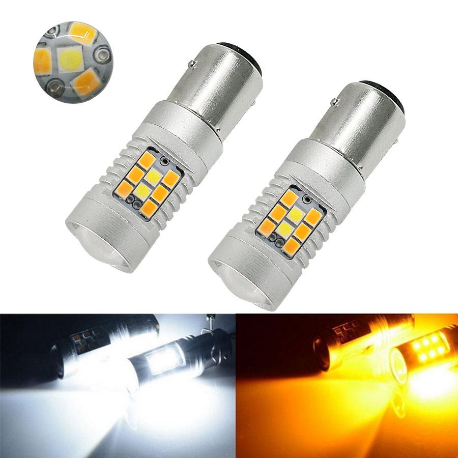 2PCS High Power DC12V 1157 White Ambor Dual-Color Switchback LED Reverse Brake Bulbs Led Lamp Auto Car Tail Backup Light New